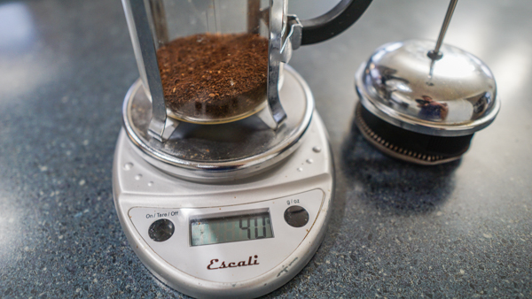 Measure out coffee grounds in your French Press